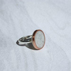 Bague disque LISON cuivre minéral